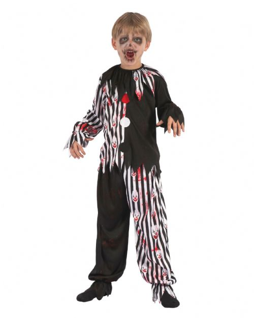 Childrens Harlequin Clown Bloody Costume jester Clown Fancy Dress Outfit